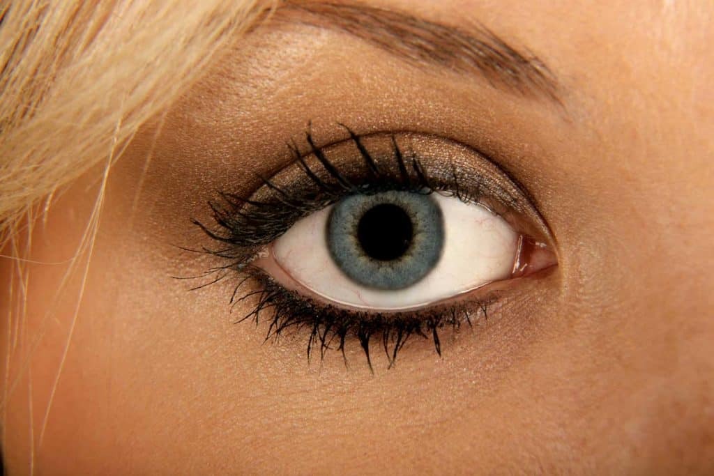 A close up of an eye of a lady