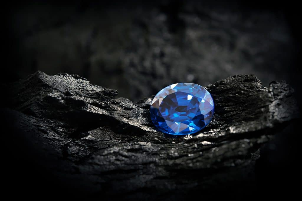 An eccentric and meticulously cut blue sapphire stone