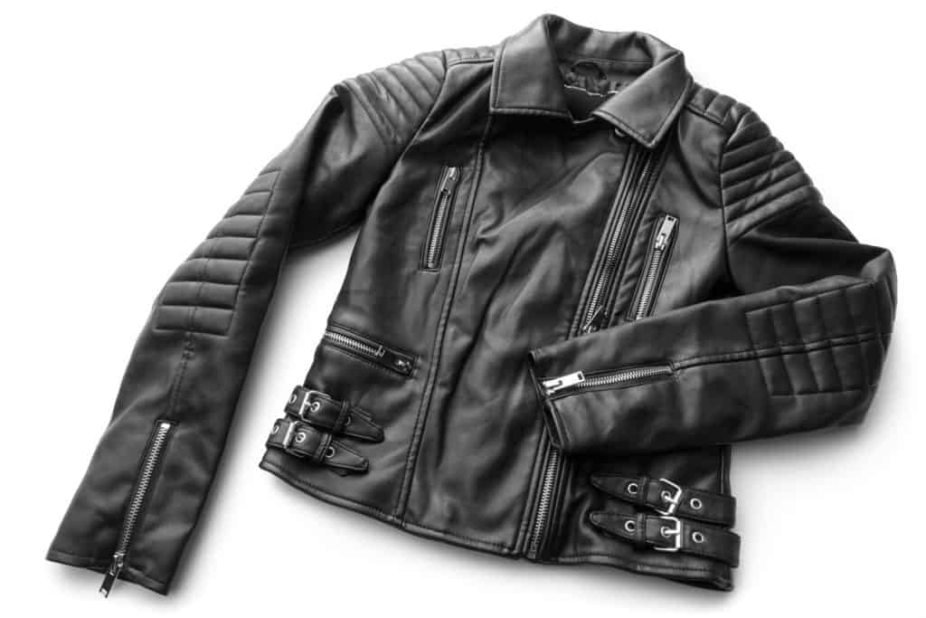 A leather jacket on a white background