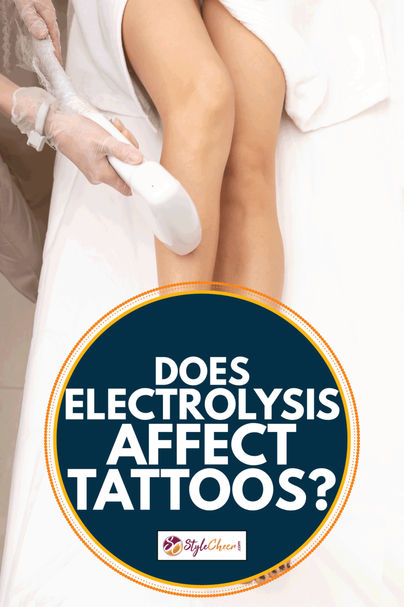 Beautician does hair removal, laser hair removal on the model long beautiful legs in a spa or medical clinic. Does Electrolysis Affect Tattoos