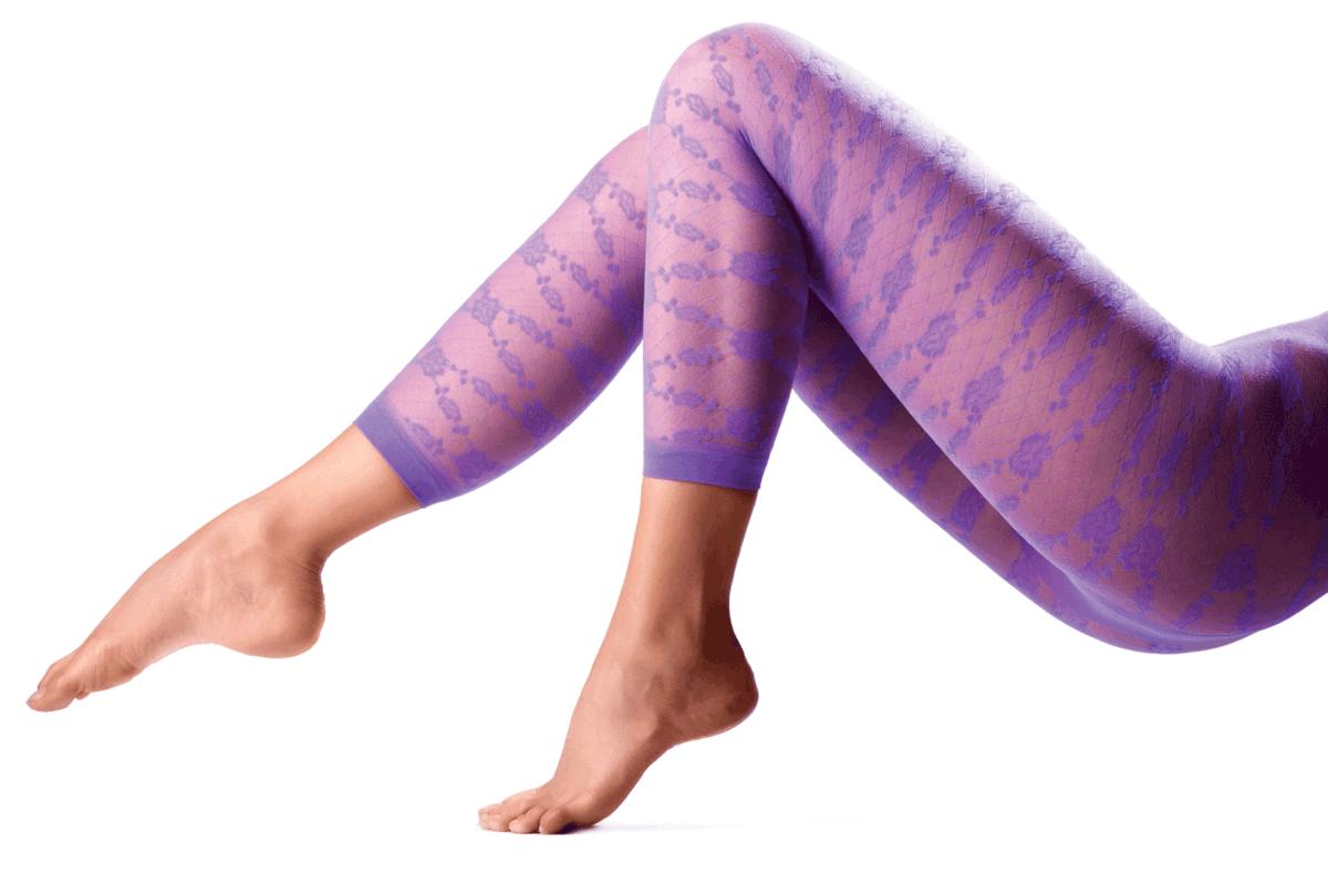 Female legs in purple leggings
