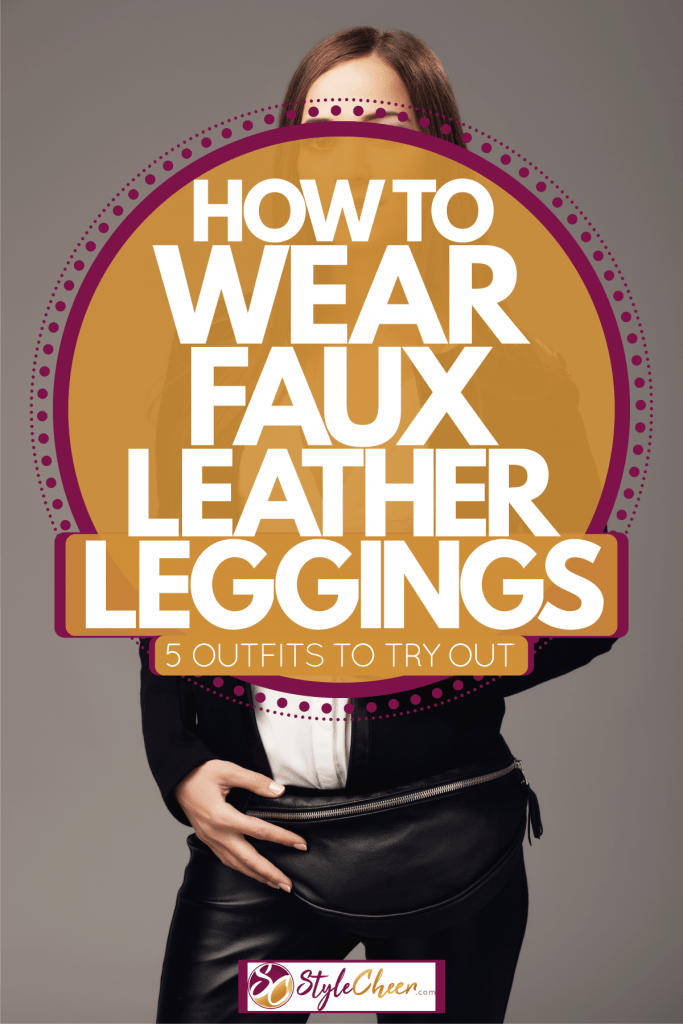 A woman sitting on the stairs wearing a leather denim jacket and faux leather pants, How To Wear Faux Leather Leggings -- 5 Outfits To Try Out