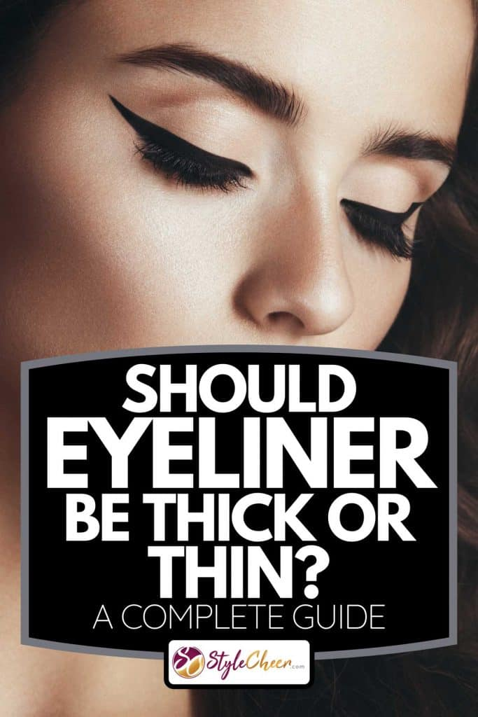 A studio portrait of beautiful woman with professional cat-eye make up, Should Eyeliner Be Thick Or Thin?[A Complete Guide]