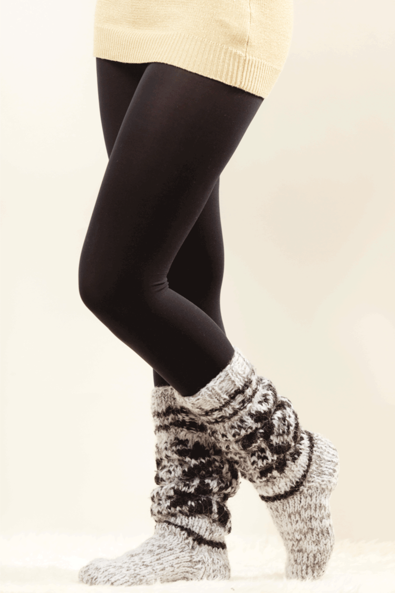 Winter fashion. Woman legs wearing fashionable wintertime clothes woolen warm socks and black tights