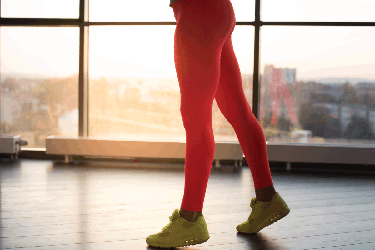 Woman's legs in red yoga pants