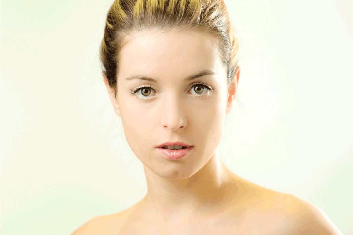 Young woman with blonde hair and hazel eyes