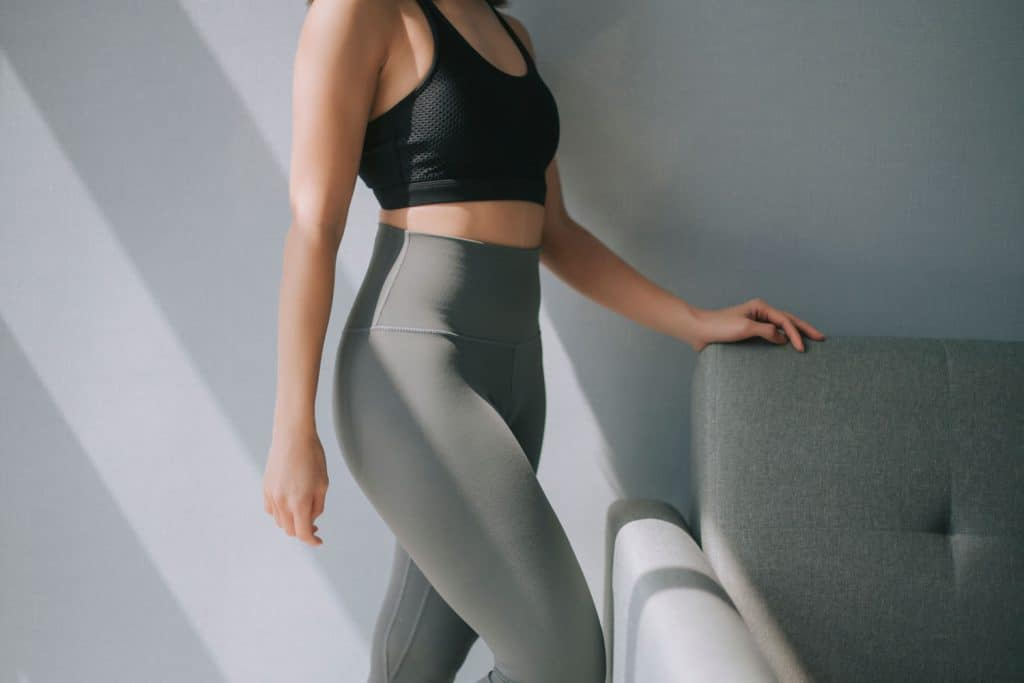side view mid section of asian chinese woman with yoga pants sport clothing sexual sporty sportive tempting beautiful attractive nice round tight pants leggings, How To Clean Yoga Pants