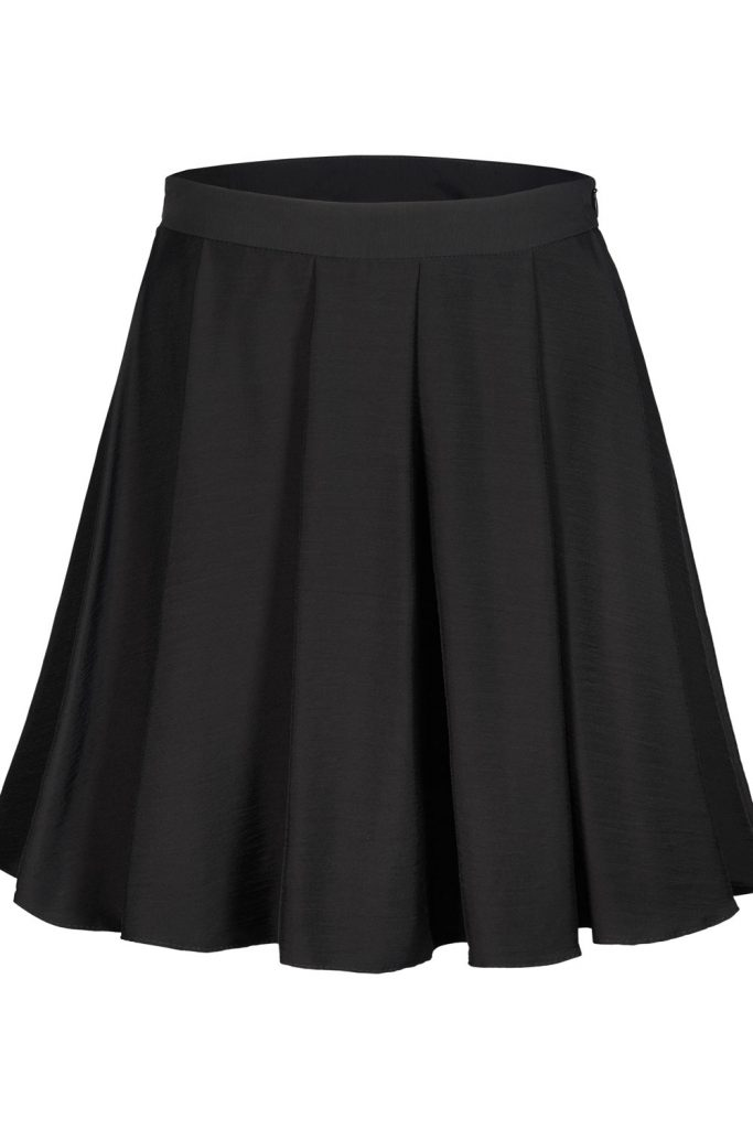 A black pleated skirt on a white background