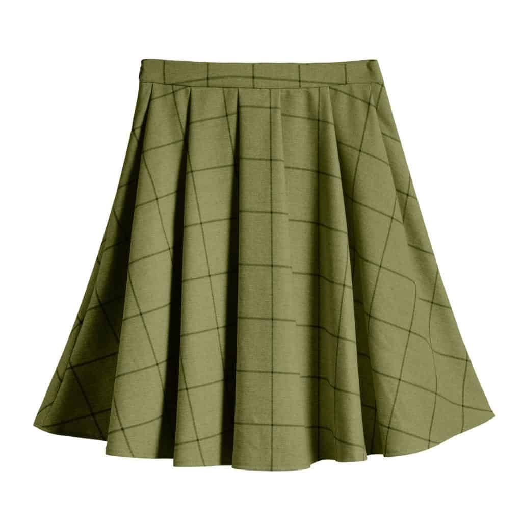 A green pleated skirt on a white background