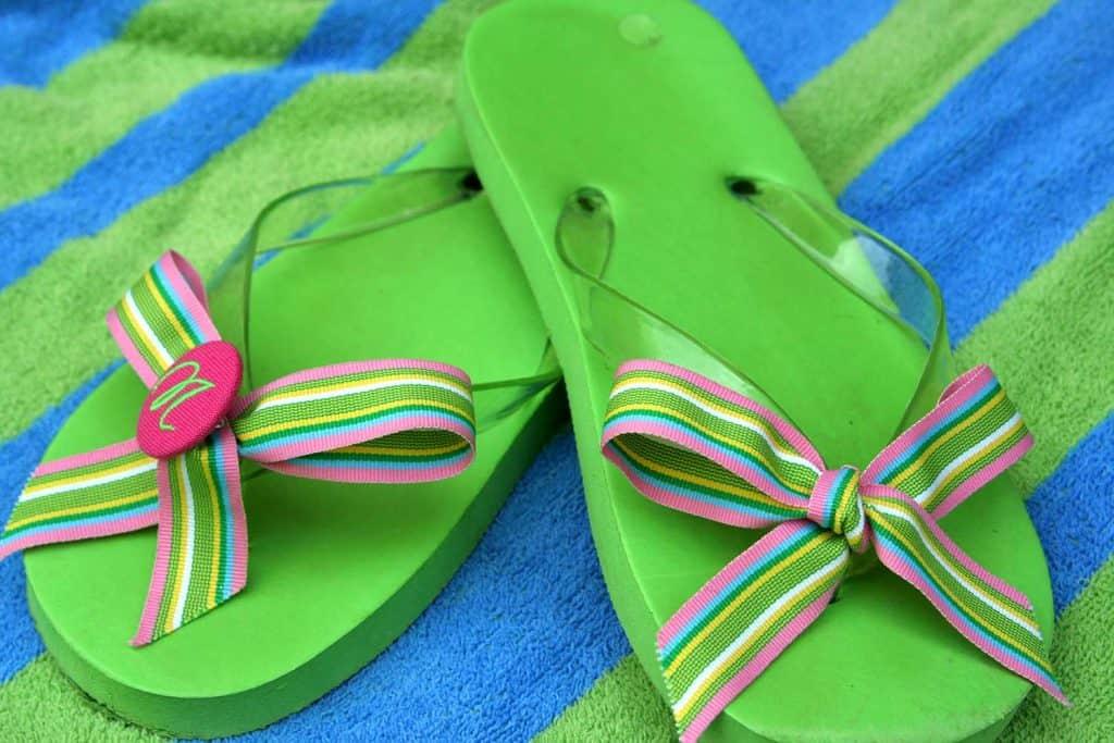 Close up of flip flops