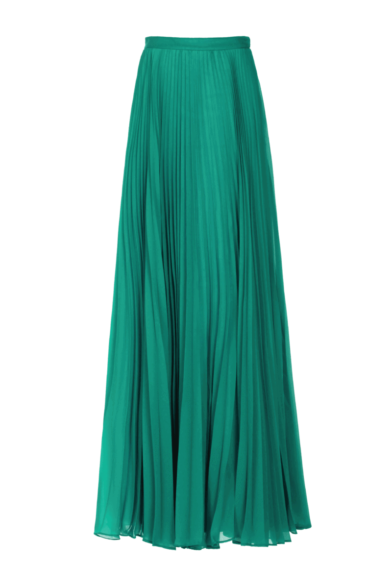 Green pleated organza long skirt isolated over white