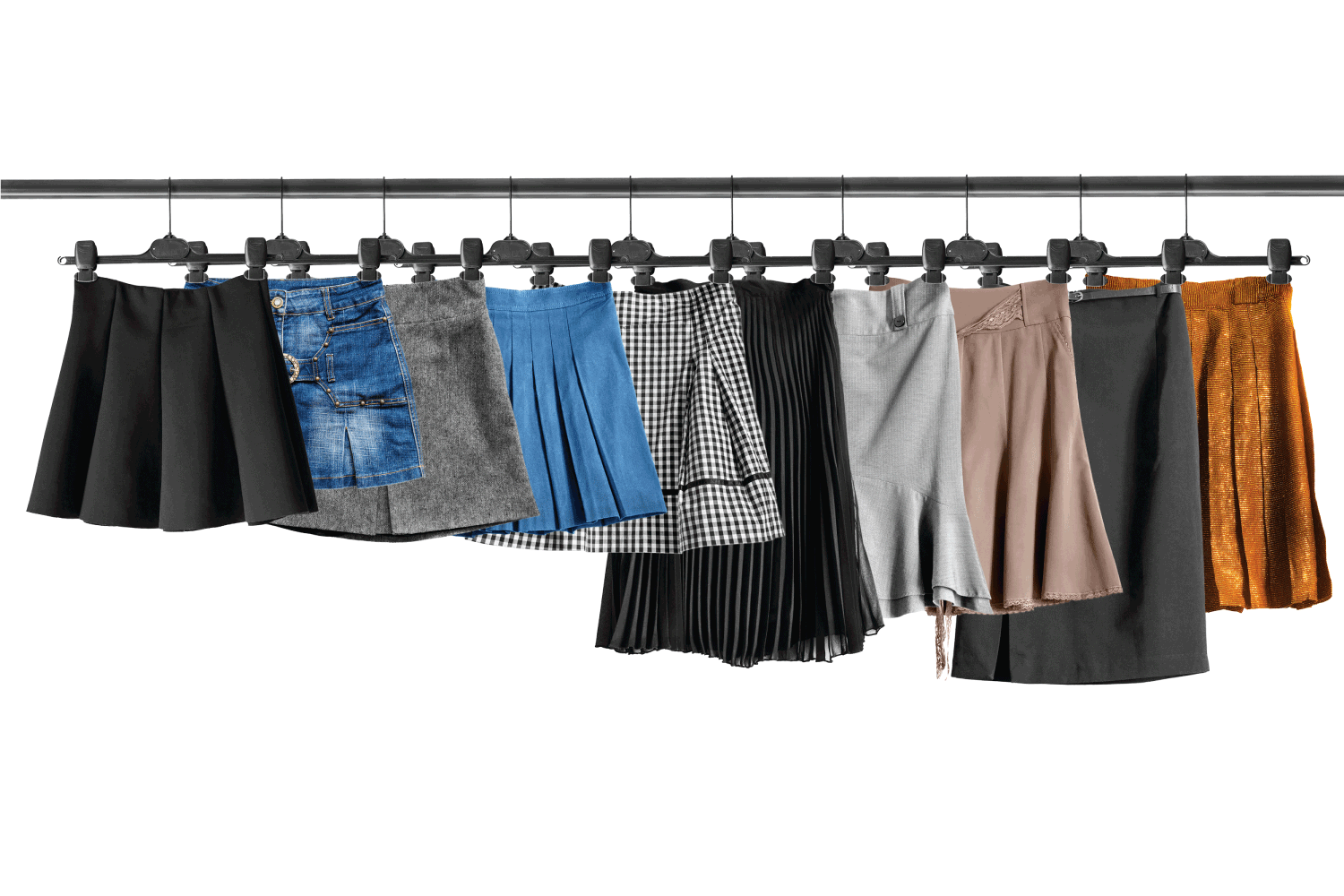 Group of skirts on clothes racks