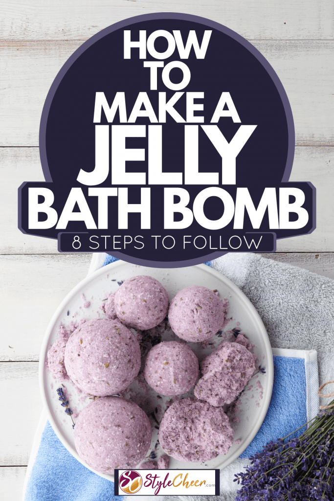 Seven pieces of lavender colored bath bombs on a white plate with lavender leaves on the side, How To Make A Jelly Bath Bomb [8 Steps To Follow]
