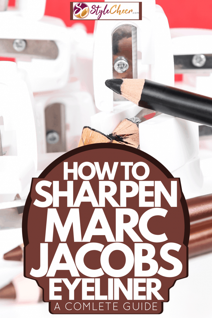 A newly sharpened black colored eyeliner with sharpeners on the background, How To Sharpen Marc Jacobs Eyeliner [A Complete Guide]