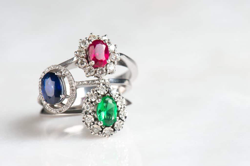 Luxury rings on white background