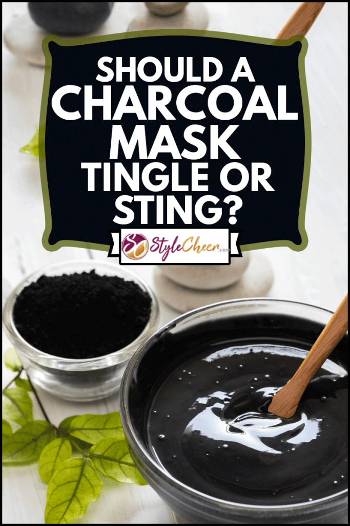 Homemade facial mask and scrub by activated charcoal powder and yogurt on white wooden background, Should A Charcoal Mask Tingle Or Sting?