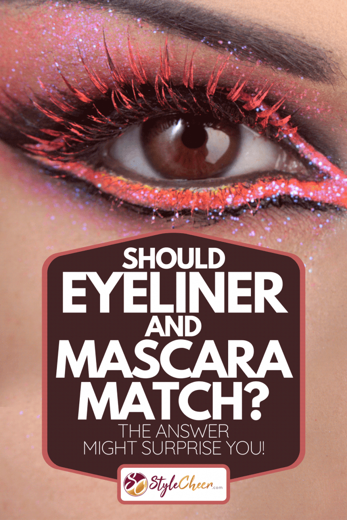 A beautiful woman with colorful eye makeup, Should Eyeliner And Mascara Match? [The Answer Might Surprise You!]