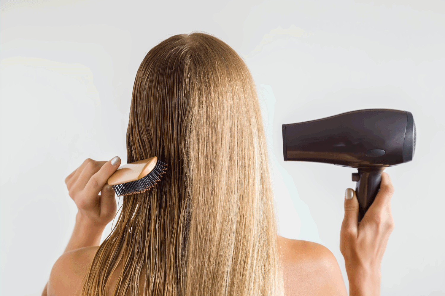 Wet and dry woman's blonde hair before and after using hair dryer