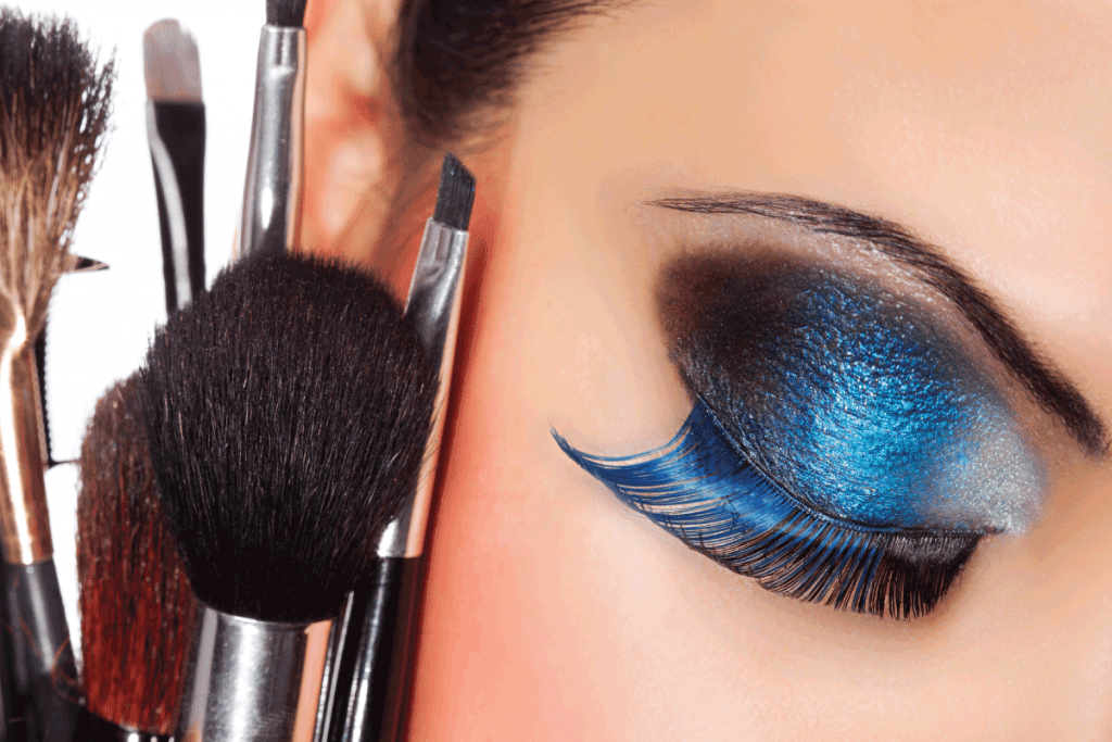 model wearing blue eye shadow and eyeliner. Can You Use Gel Eyeliner As Eyeshadow