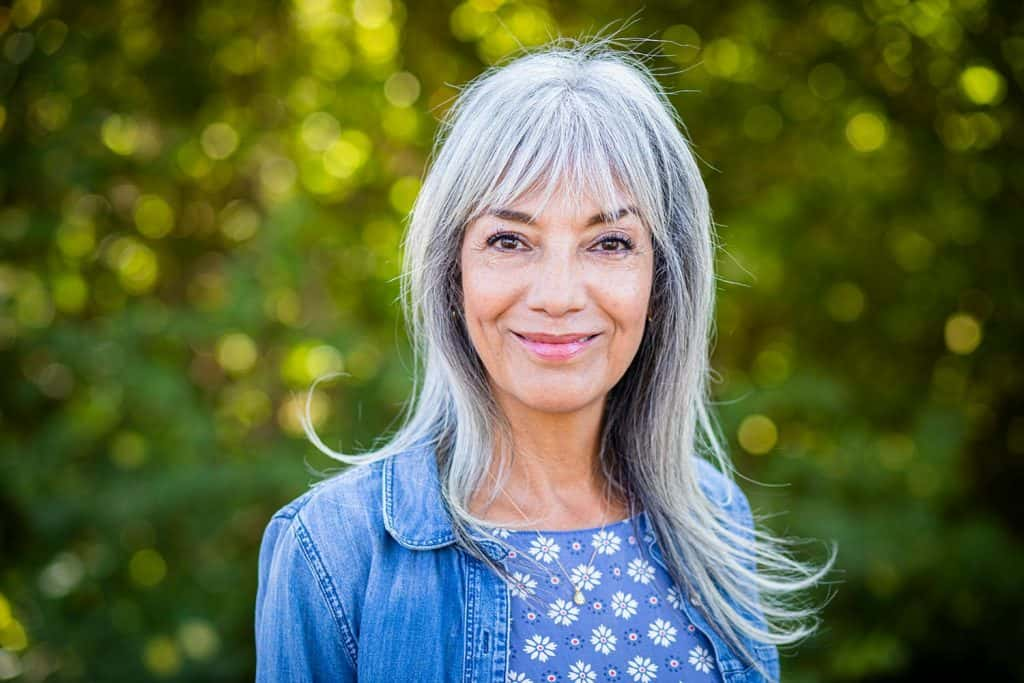 A beautiful senior woman with gray hair