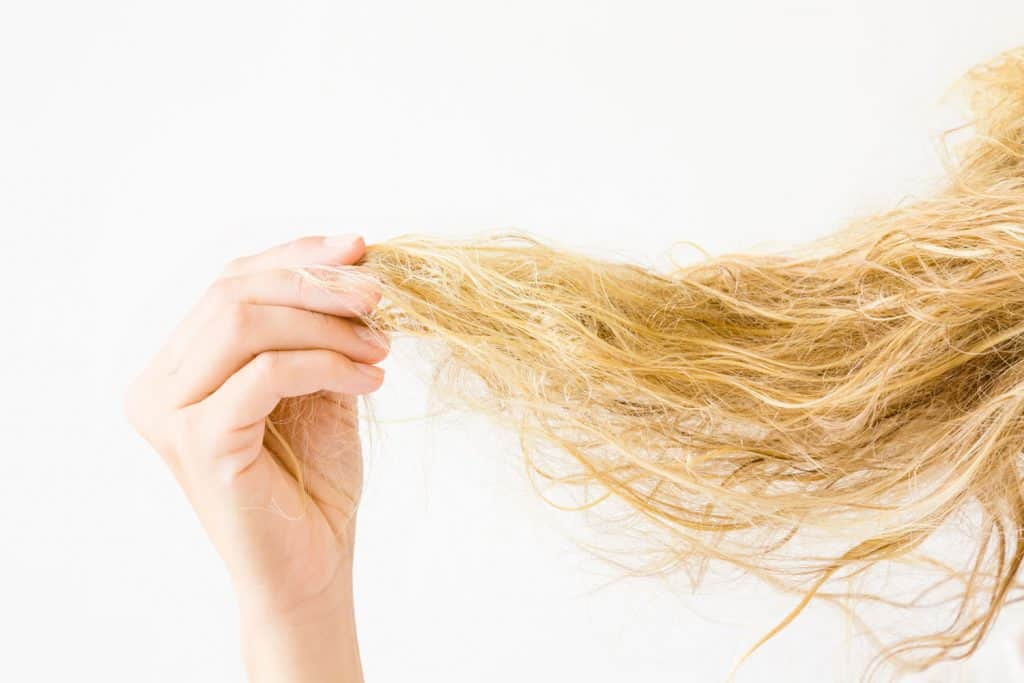 A woman holding her frizzy blonde hair on a white background
