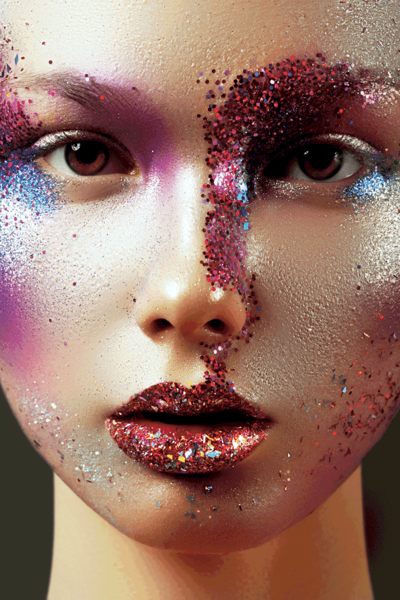 Beauty, cosmetics and makeup. Magic eyes look with bright creative make-up