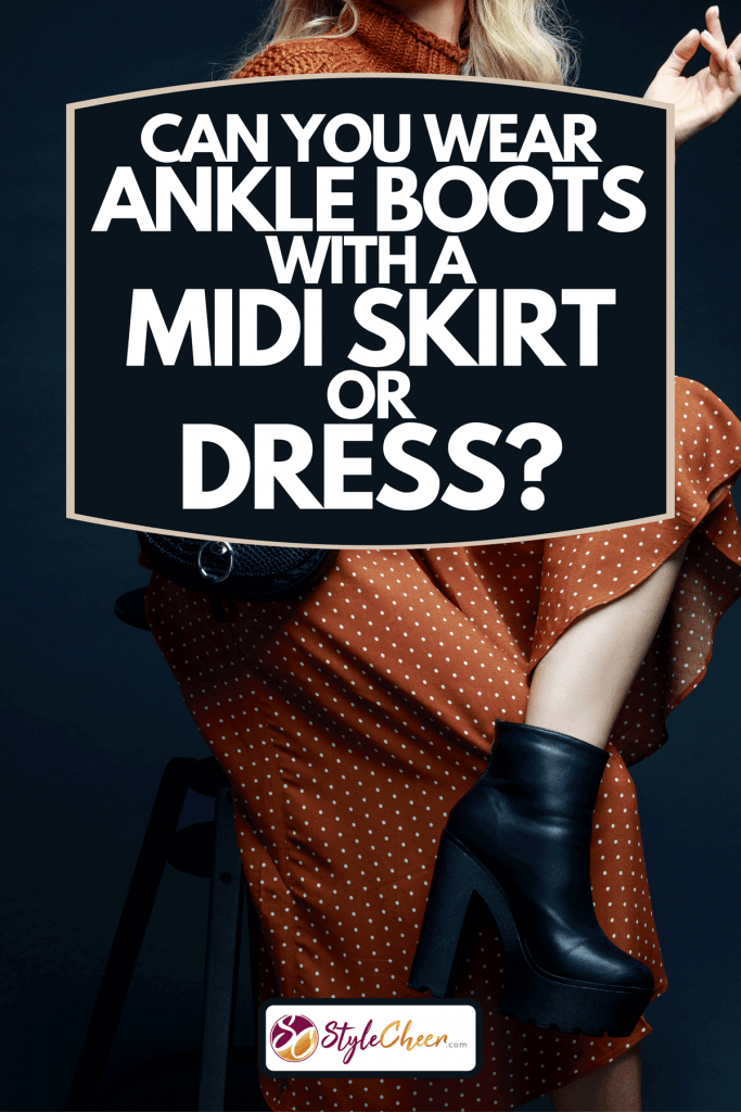 A woman sitting on chair wearing skirt and ankle boots, Can You Wear Ankle Boots With A Midi Skirt Or Dress?