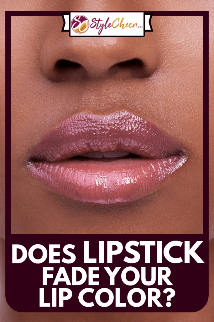 Cropped shot of a young woman's mouth against a purple background, Does Lipstick Fade Your Lip Color?