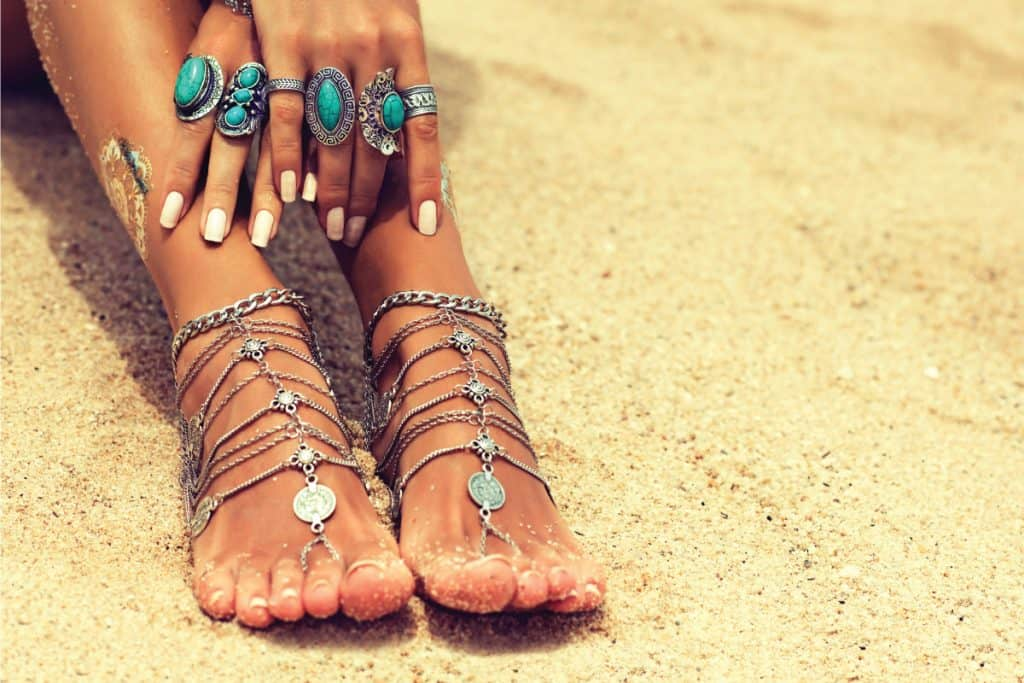 Female legs in trendy Boho style. 17 Awesome Pedicure Ideas For Summer