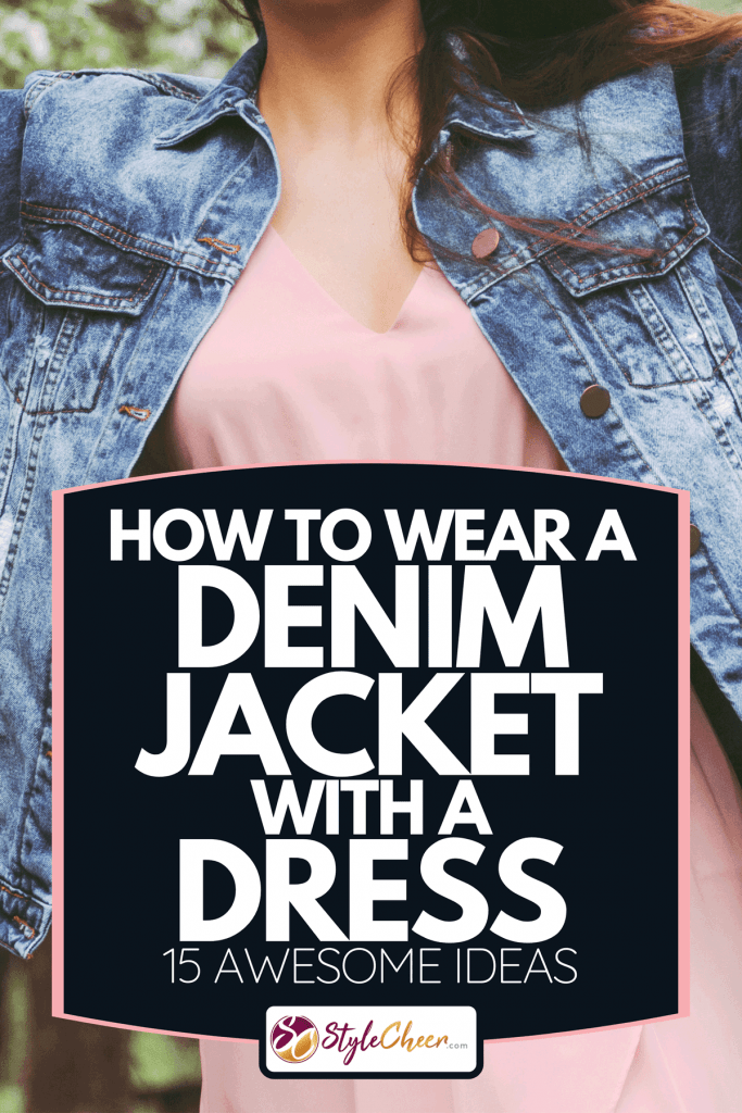 A young beautiful hippie girl in stylish pink dress and denim jacket, How To Wear A Denim Jacket With A Dress [15 Awesome Ideas]