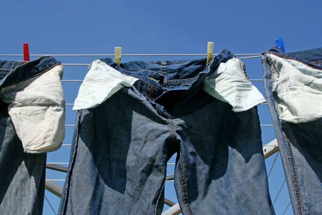 Jeans on clothesline