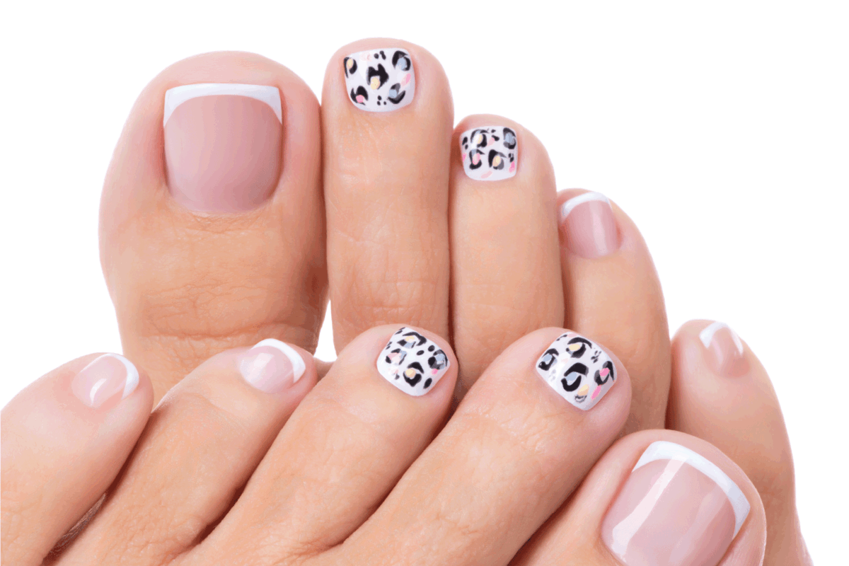 Legs with beautiful french manicure and animal print in the mix