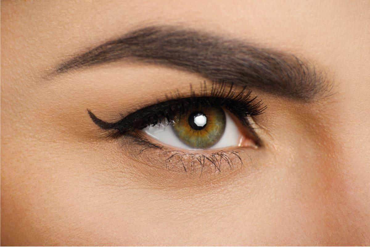 Make-up. Eyes. Eyelashes. Nice clean skin.