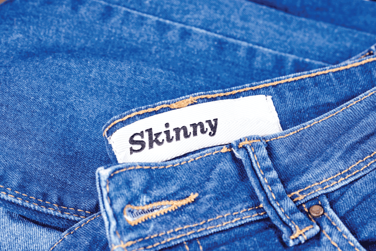 Modern young blue jeans denim with tag skinny for lean people