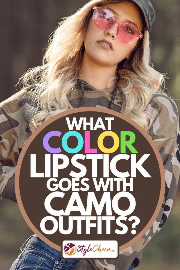 A woman wearing camo hoodie in the forest, What Color Lipstick Goes With Camo Outfits?