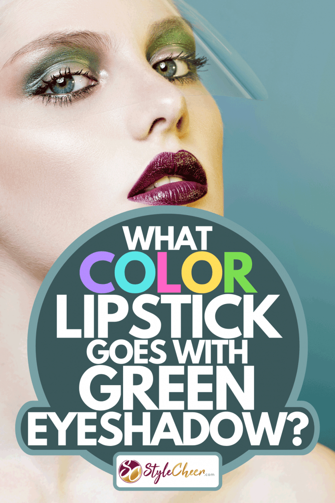 A beautiful girl with vinous lips and green eyeshadows on teal background, What Color Lipstick Goes With Green Eyeshadow?