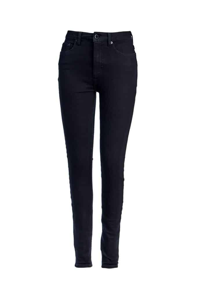 A black skinny jeans on a white background
