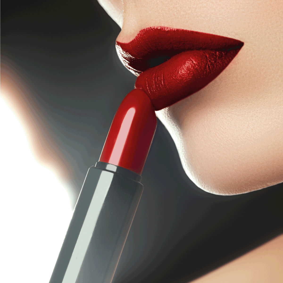 Cosmetics, makeup and trends. Bright lip gloss and lipstick on lips.