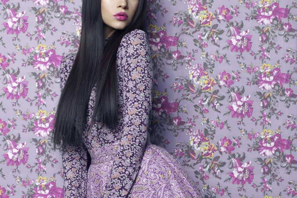 Fashion art photo of beautiful elegant lady on floral background wearing lavender dress and purple lipstick, , What Color Lipstick Goes With A Lavender Dress?