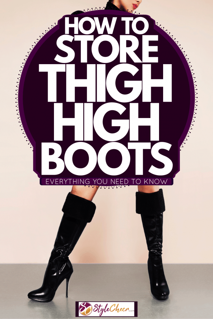 A woman wearing striped red shorts, black thigh high boots, and a black shirt, How To Store Thigh High Boots - Everything You Need to Know!