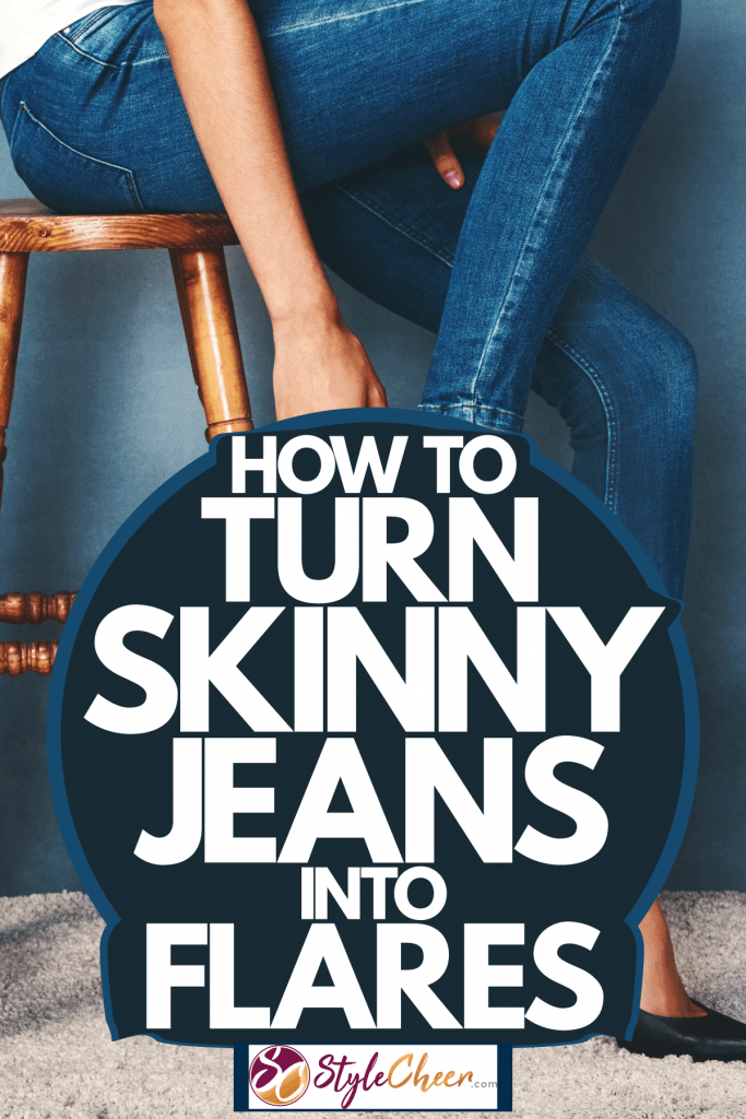 A girl wearing blue jeans and black sandals while sitting on a stool, How To Turn Skinny Jeans Into Flares