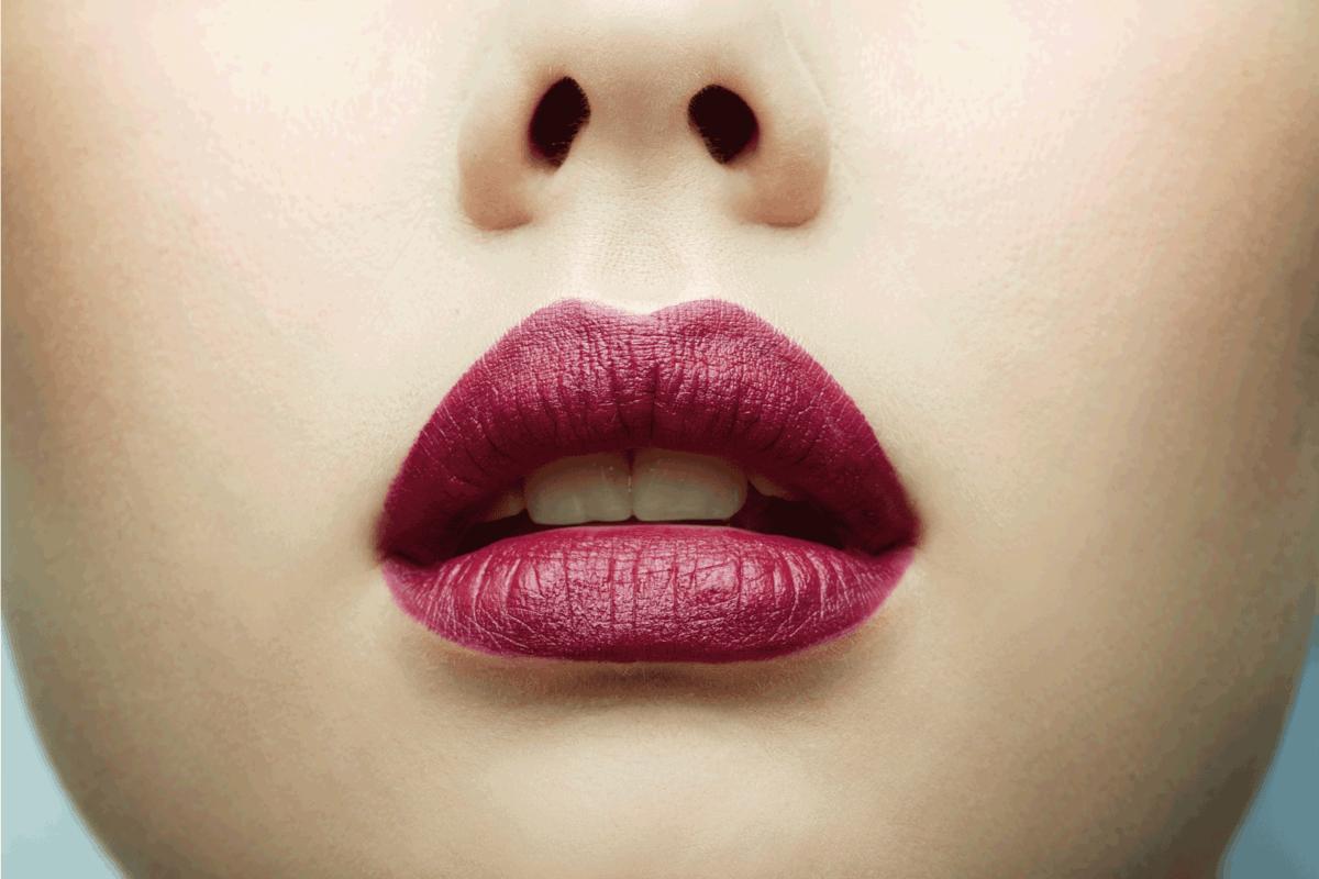 model wearing plum colored lipstick close up