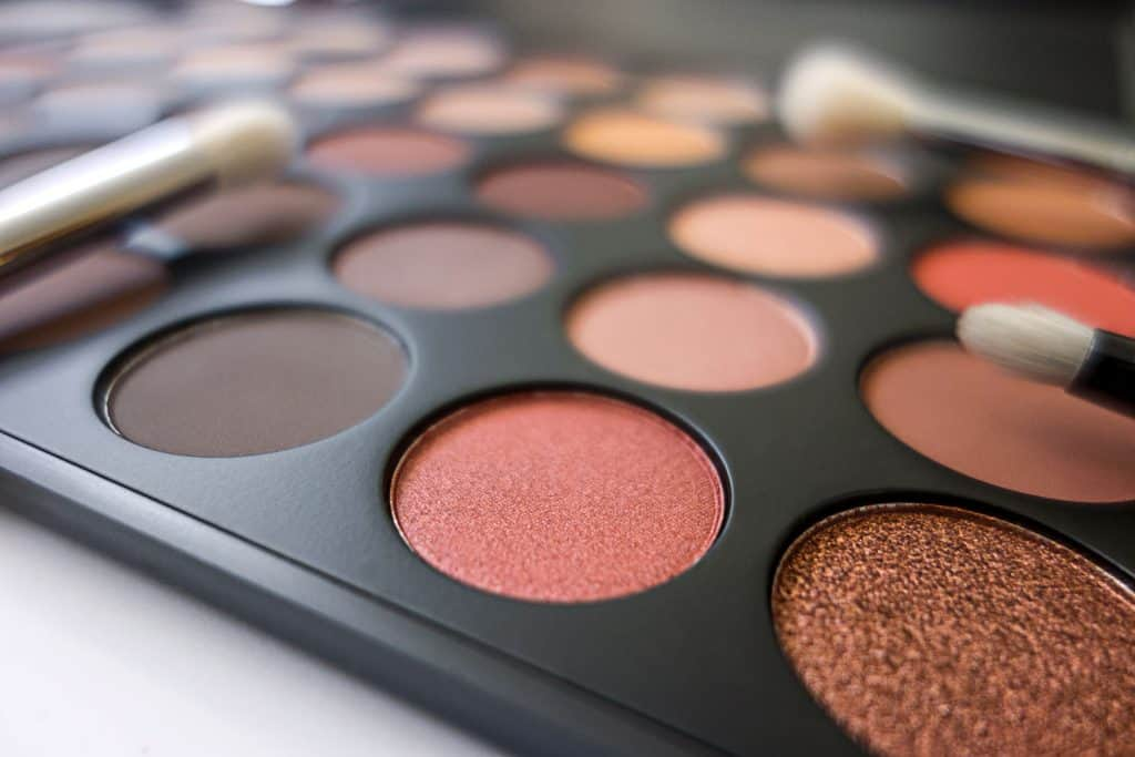 Different colored and textures of eyeshadow