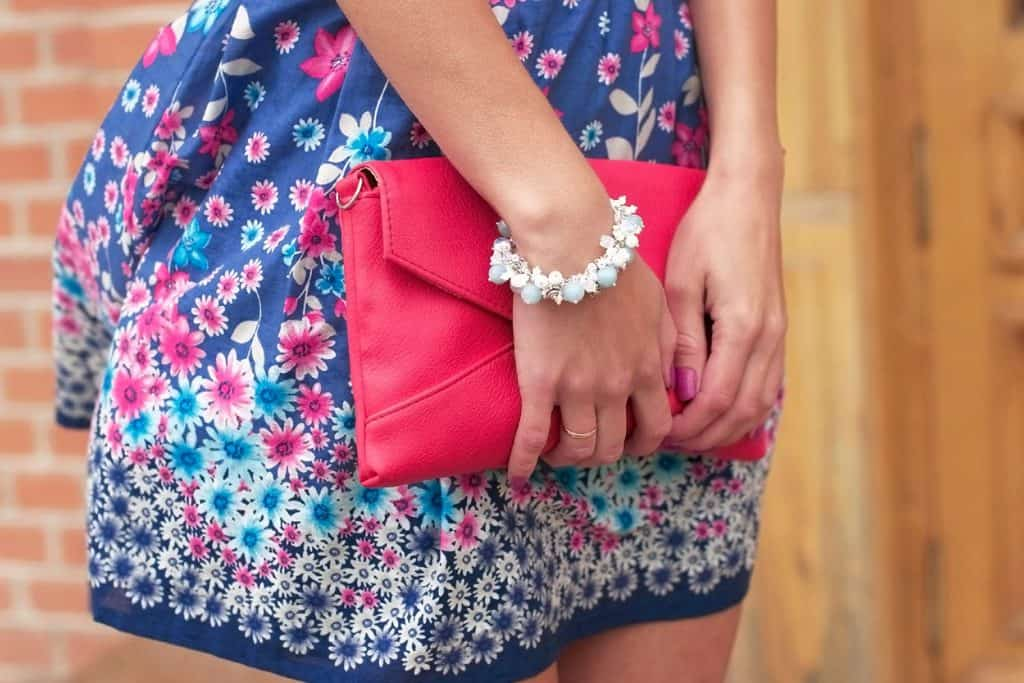 Woman holding her purse