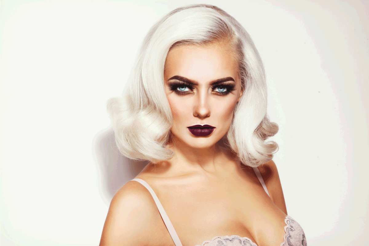 young beautiful glamorous platinum blonde woman with stylish make-up and hairdo. What Color Lipstick Goes With White Hair