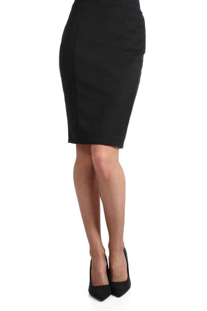 A photo of a woman wearing a black pencil skirt on a white background